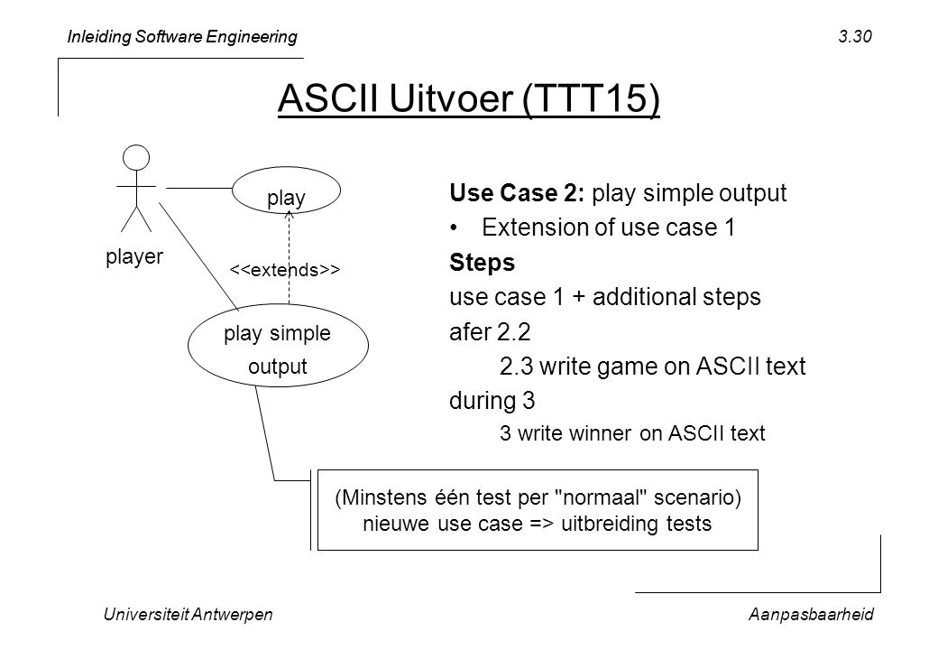 ASCII Uitvoer (TTT15) Use Case 2: play simple output