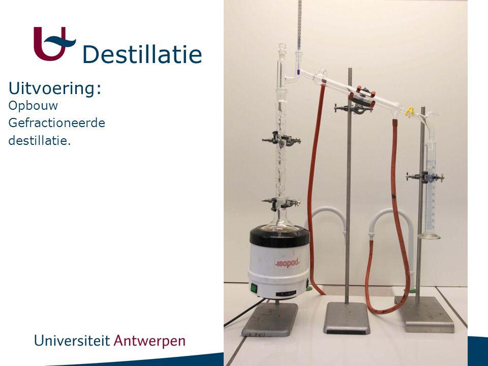 Destillatie Uitvoering: Opbouw Gefractioneerde destillatie.