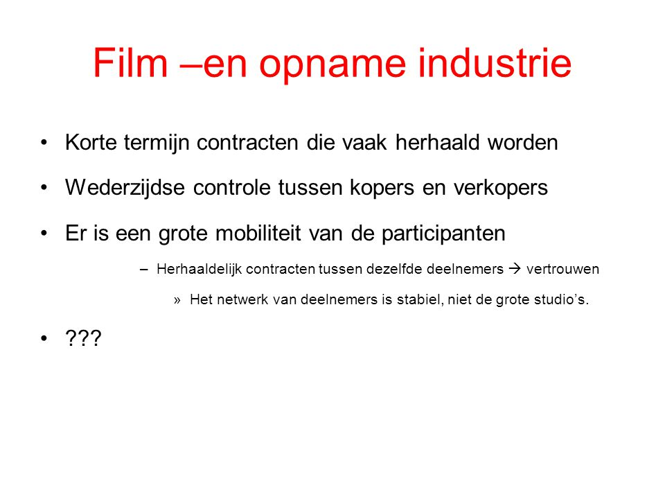 Film –en opname industrie