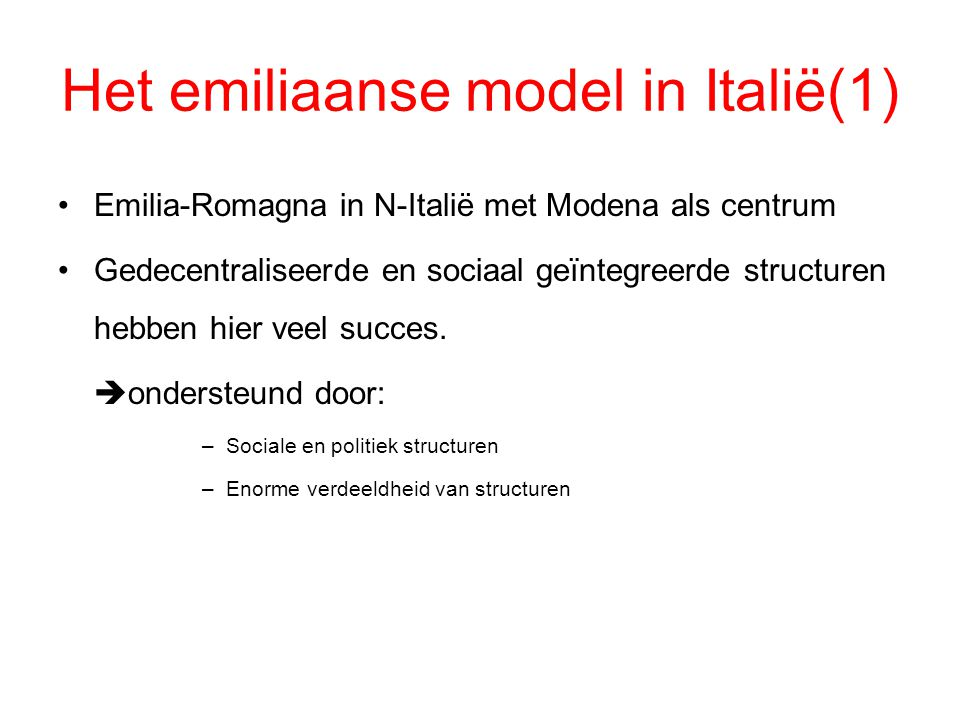 Het emiliaanse model in Italië(1)