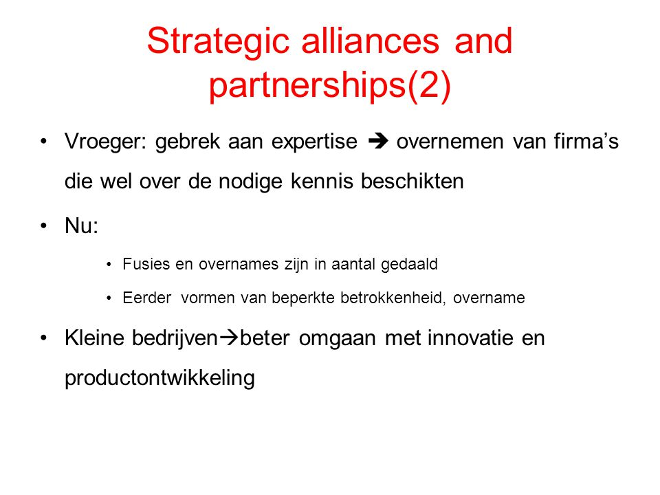 Strategic alliances and partnerships(2)
