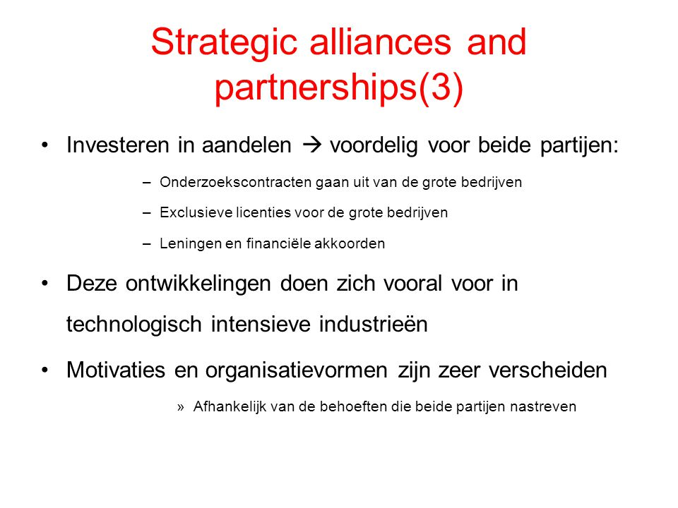 Strategic alliances and partnerships(3)