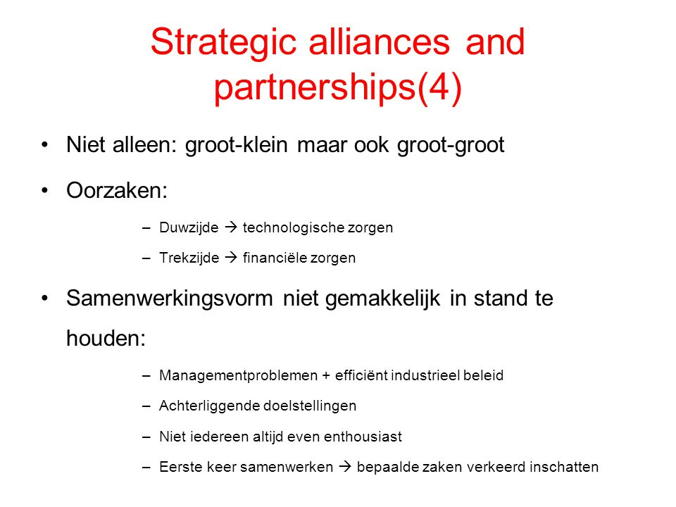 Strategic alliances and partnerships(4)