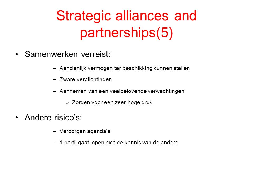 Strategic alliances and partnerships(5)