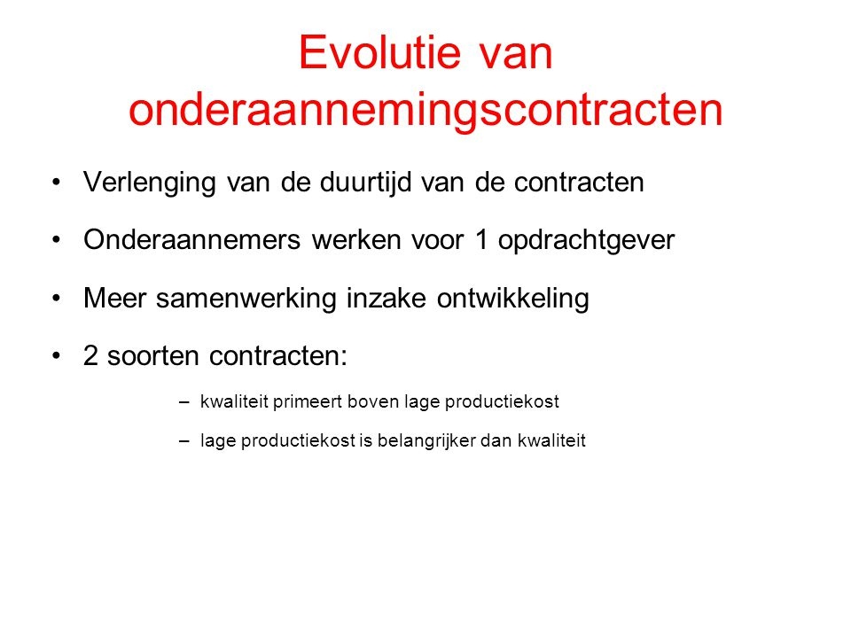 Evolutie van onderaannemingscontracten