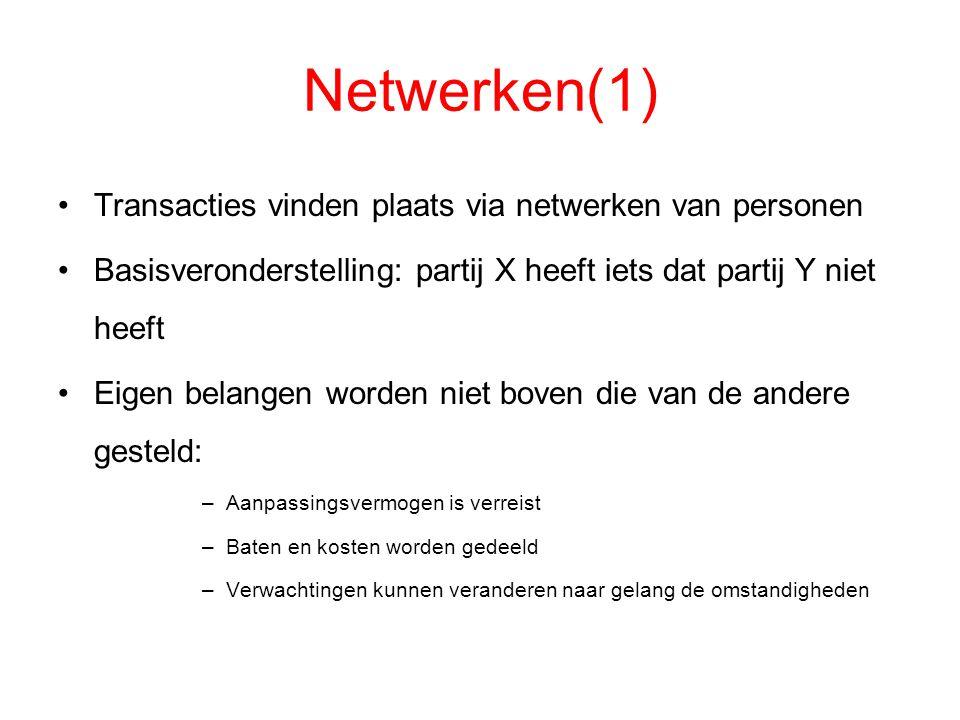 Netwerken(1) Transacties vinden plaats via netwerken van personen