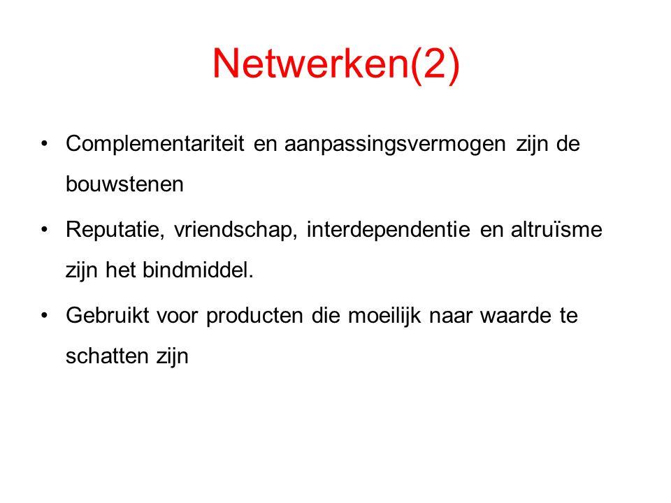 Netwerken(2) Complementariteit en aanpassingsvermogen zijn de bouwstenen. Reputatie, vriendschap, interdependentie en altruïsme zijn het bindmiddel.