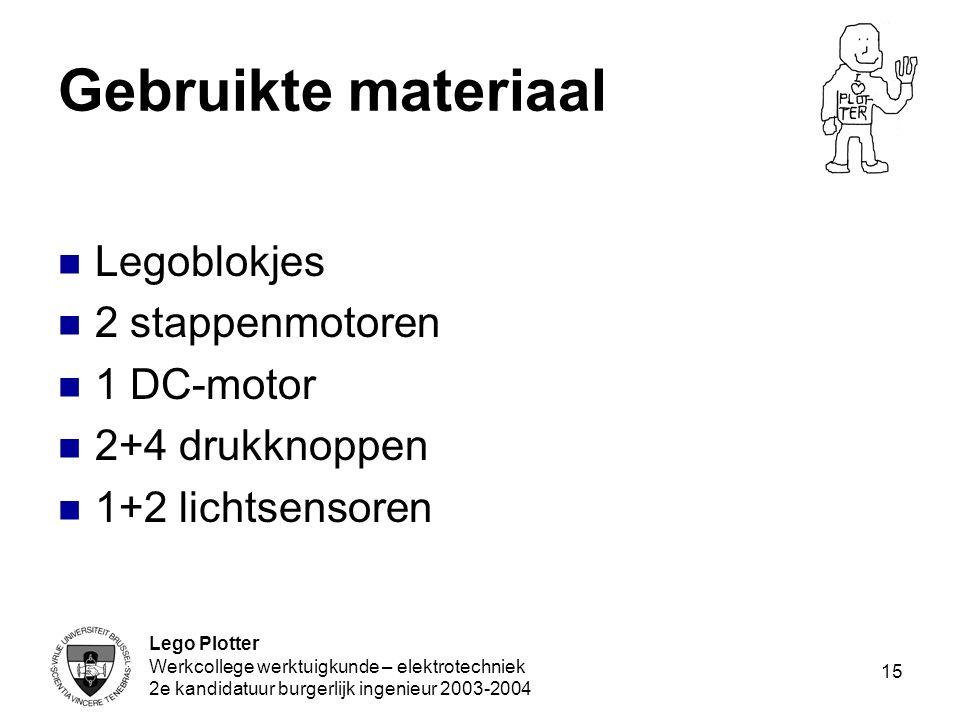 Gebruikte materiaal Legoblokjes 2 stappenmotoren 1 DC-motor