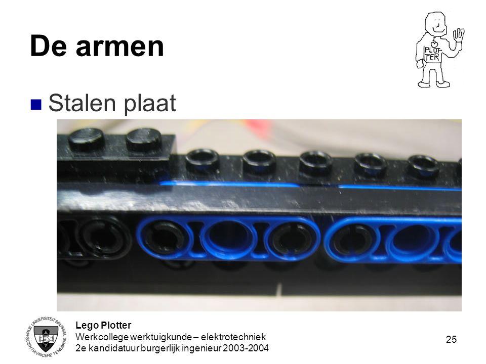 De armen Stalen plaat Lego Plotter