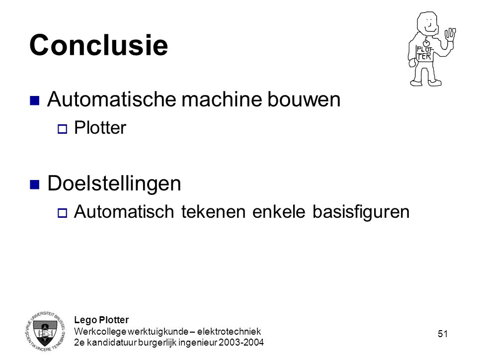 Conclusie Automatische machine bouwen Doelstellingen Plotter