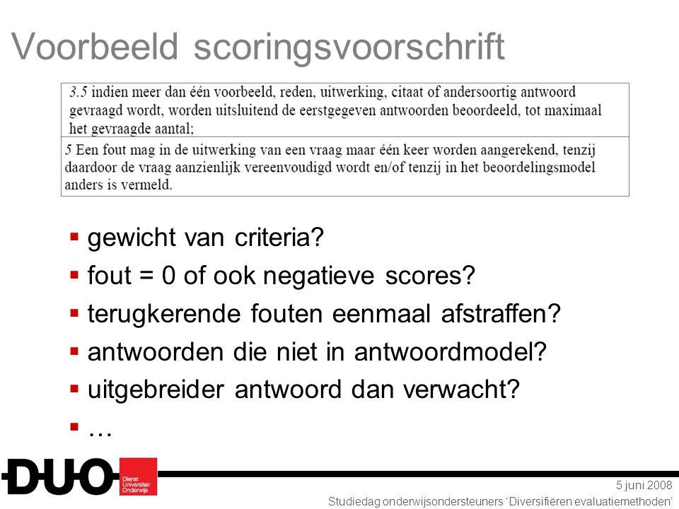 Voorbeeld scoringsvoorschrift