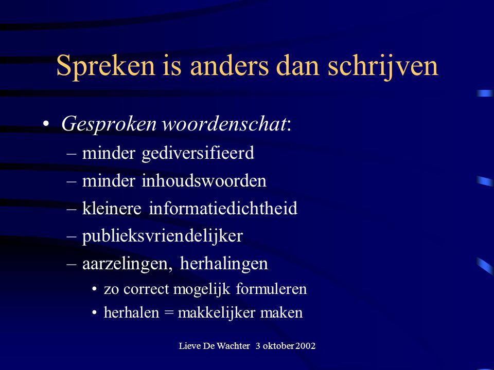 Spreken is anders dan schrijven