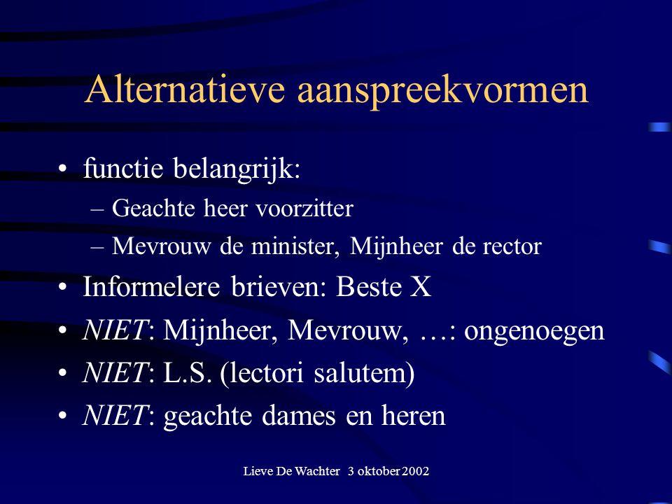 Alternatieve aanspreekvormen