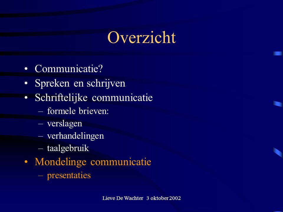 Lieve De Wachter 3 oktober 2002