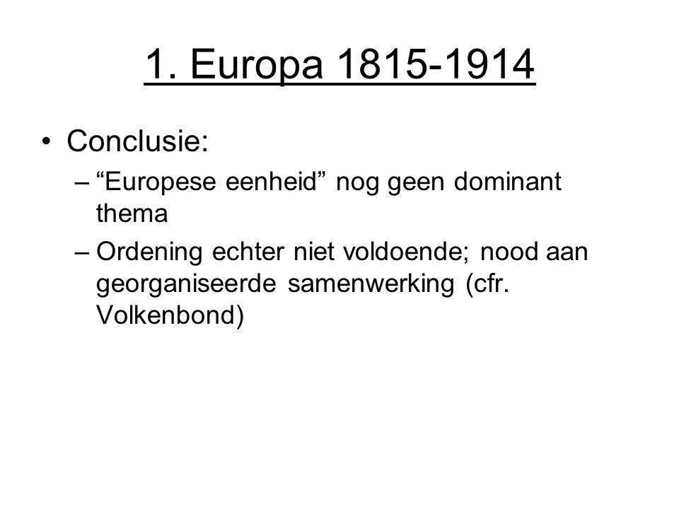 1. Europa 1815-1914 Conclusie: Europese eenheid nog geen dominant thema.