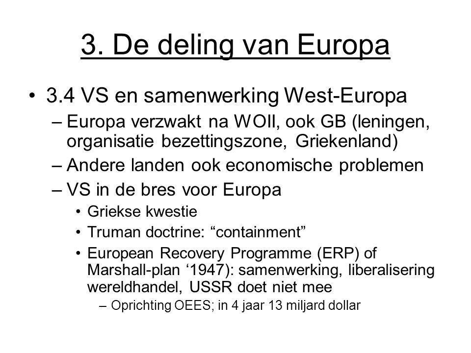 3. De deling van Europa 3.4 VS en samenwerking West-Europa