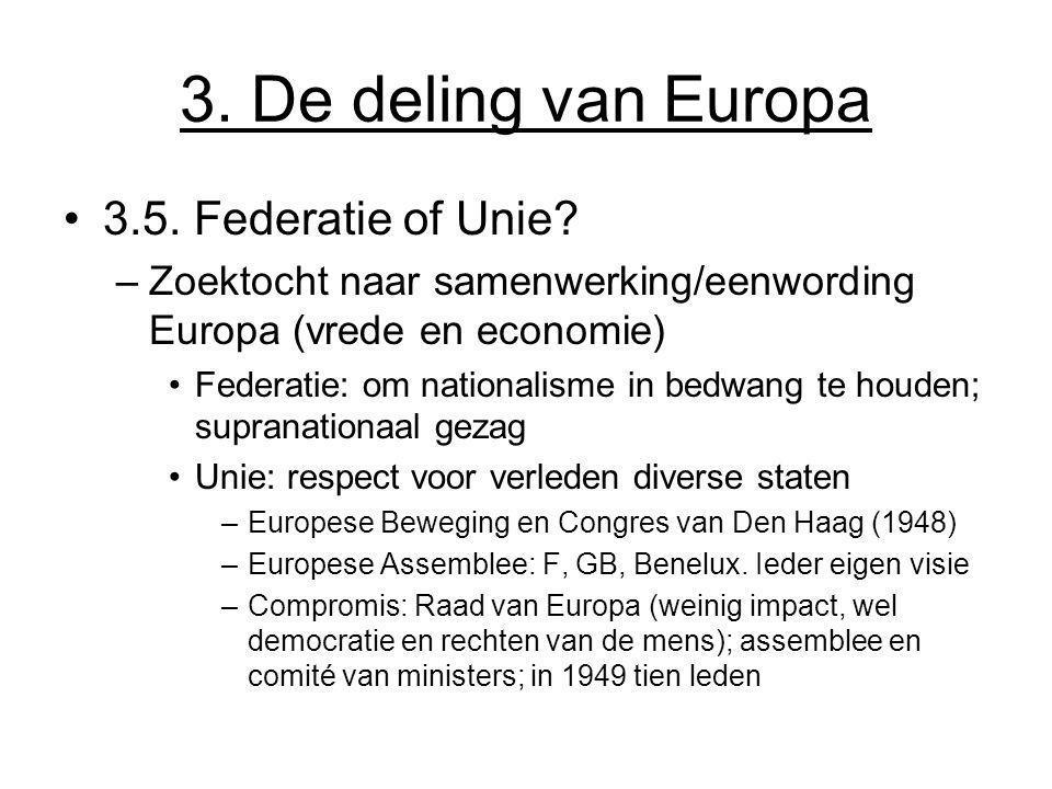 3. De deling van Europa 3.5. Federatie of Unie
