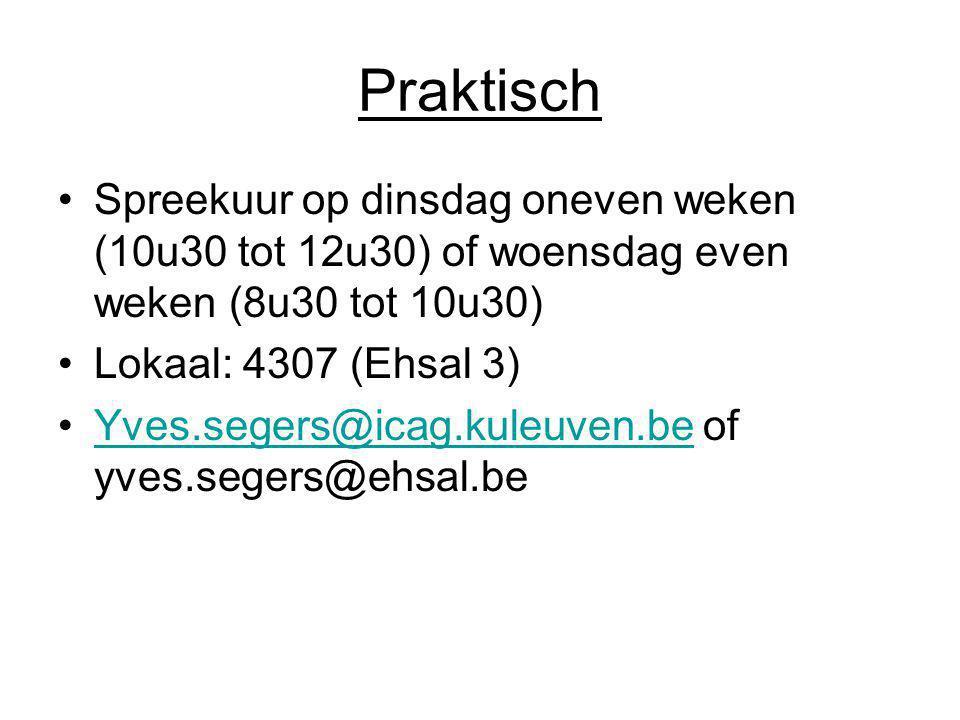 Praktisch Spreekuur op dinsdag oneven weken (10u30 tot 12u30) of woensdag even weken (8u30 tot 10u30)
