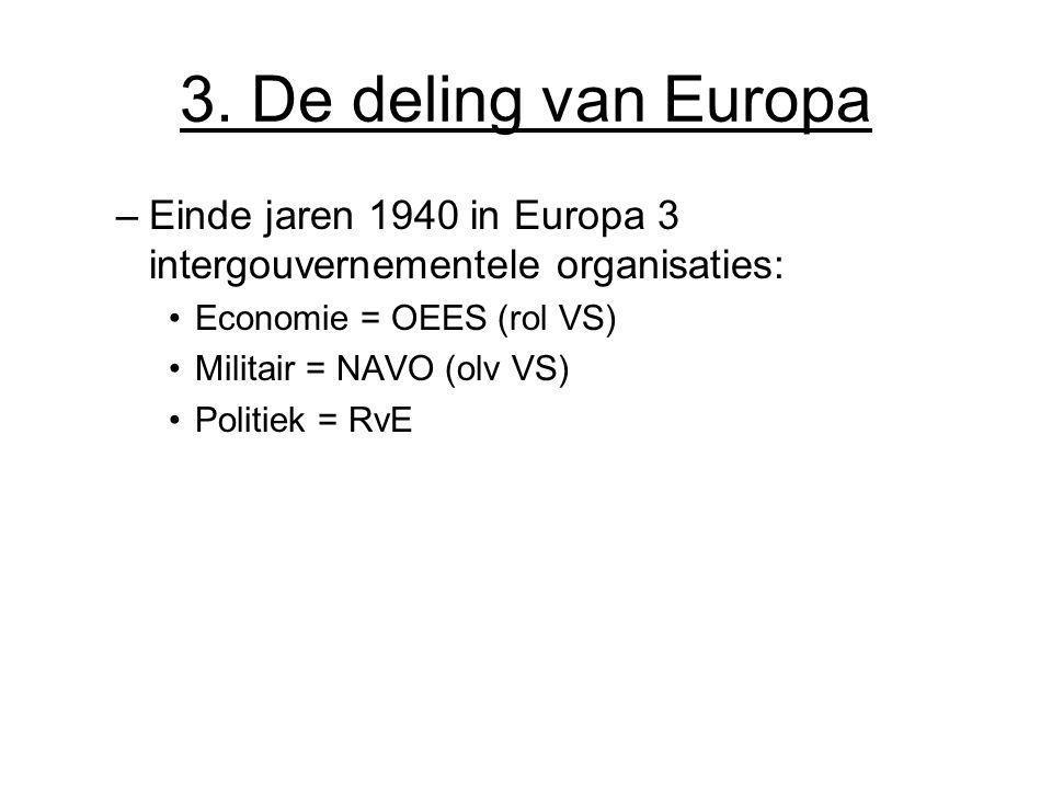 3. De deling van Europa Einde jaren 1940 in Europa 3 intergouvernementele organisaties: Economie = OEES (rol VS)