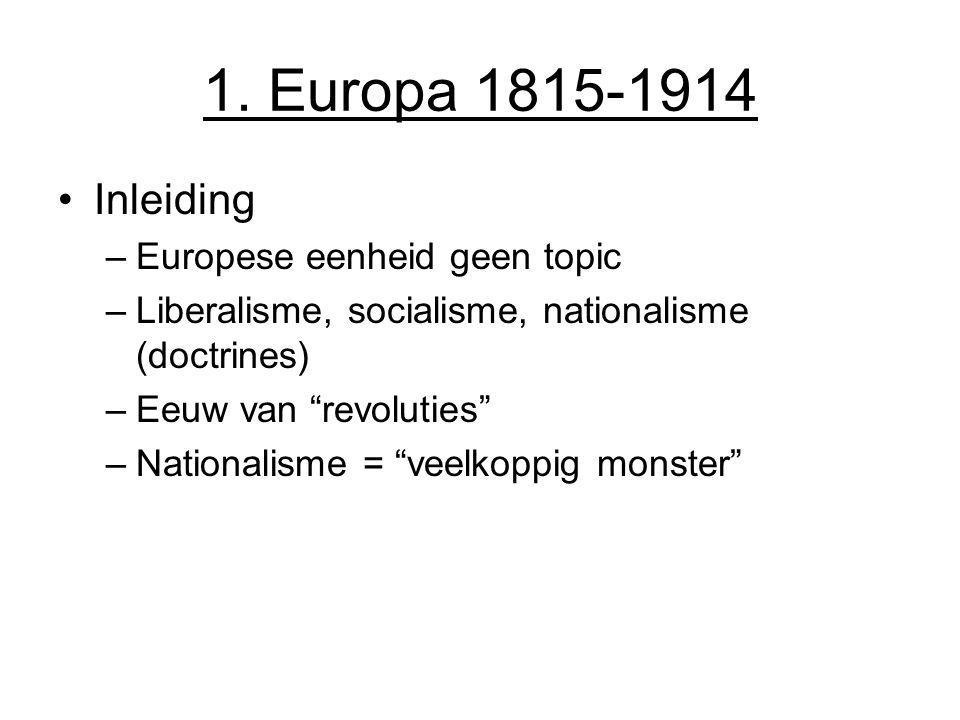 1. Europa 1815-1914 Inleiding Europese eenheid geen topic