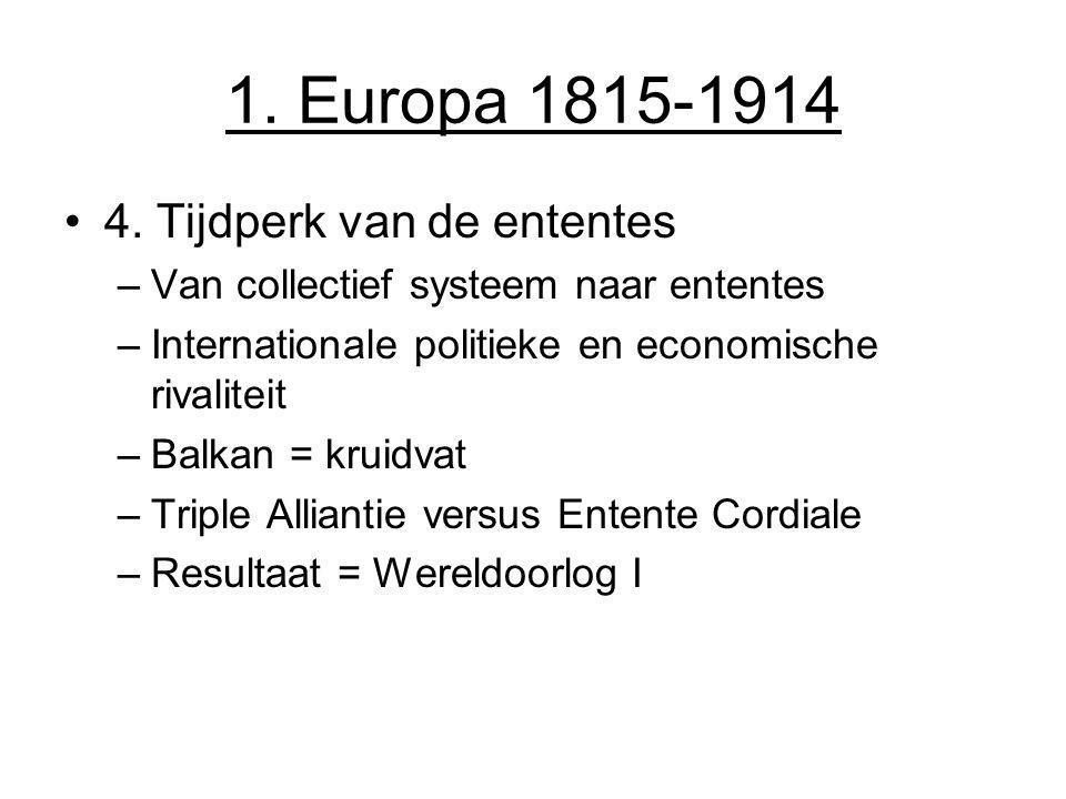 1. Europa 1815-1914 4. Tijdperk van de ententes