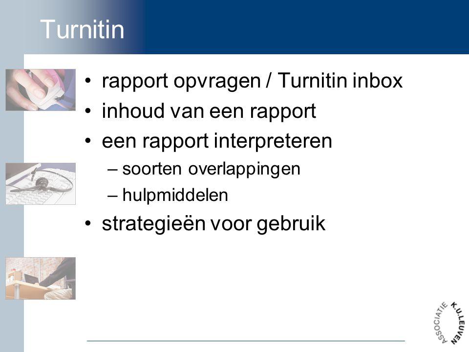 Turnitin rapport opvragen / Turnitin inbox inhoud van een rapport