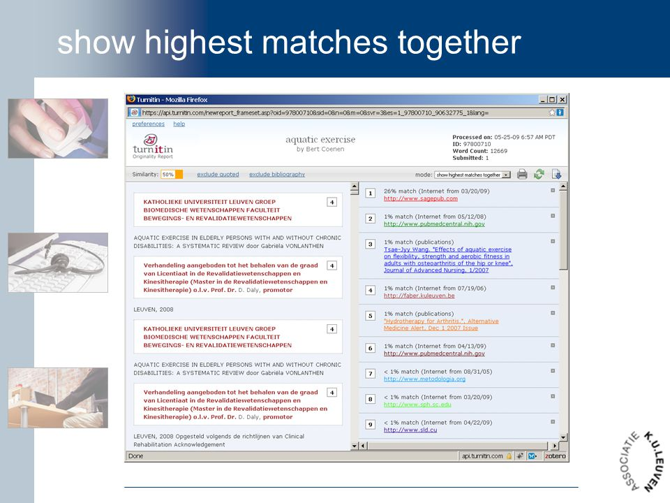 show highest matches together