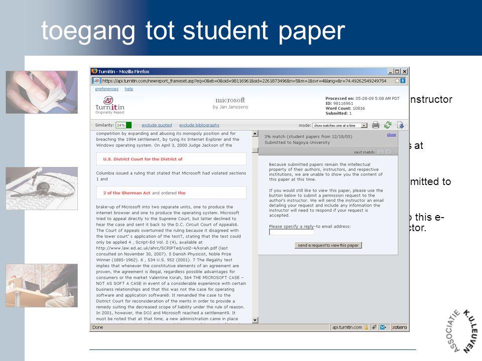 toegang tot student paper