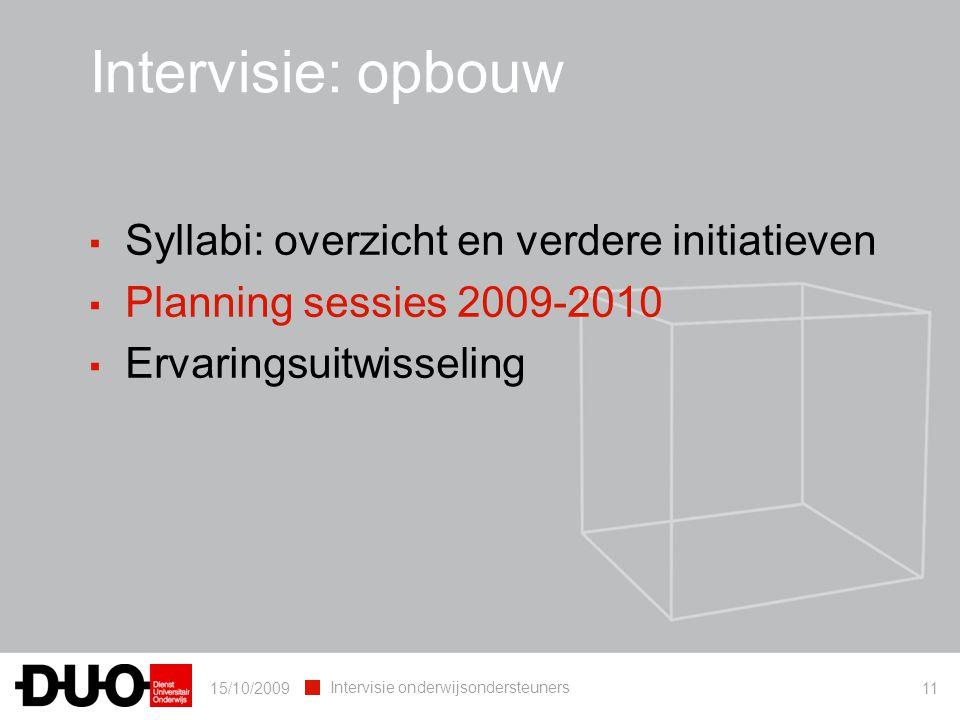 Intervisie: opbouw Syllabi: overzicht en verdere initiatieven
