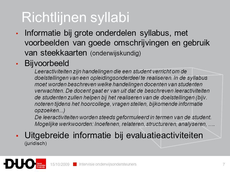 Richtlijnen syllabi Informatie bij grote onderdelen syllabus, met voorbeelden van goede omschrijvingen en gebruik van steekkaarten (onderwijskundig)