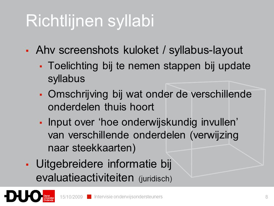 Richtlijnen syllabi Ahv screenshots kuloket / syllabus-layout