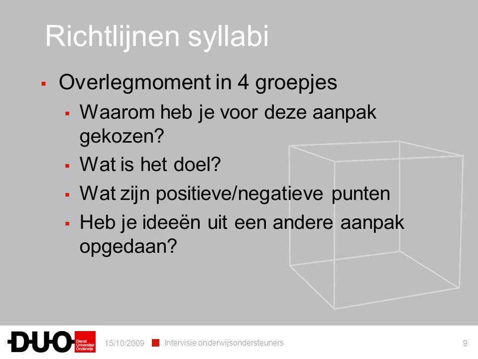 Richtlijnen syllabi Overlegmoment in 4 groepjes