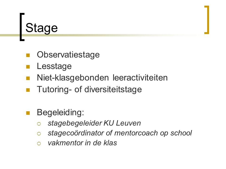 Stage Observatiestage Lesstage Niet-klasgebonden leeractiviteiten