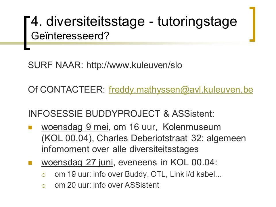 4. diversiteitsstage - tutoringstage Geïnteresseerd