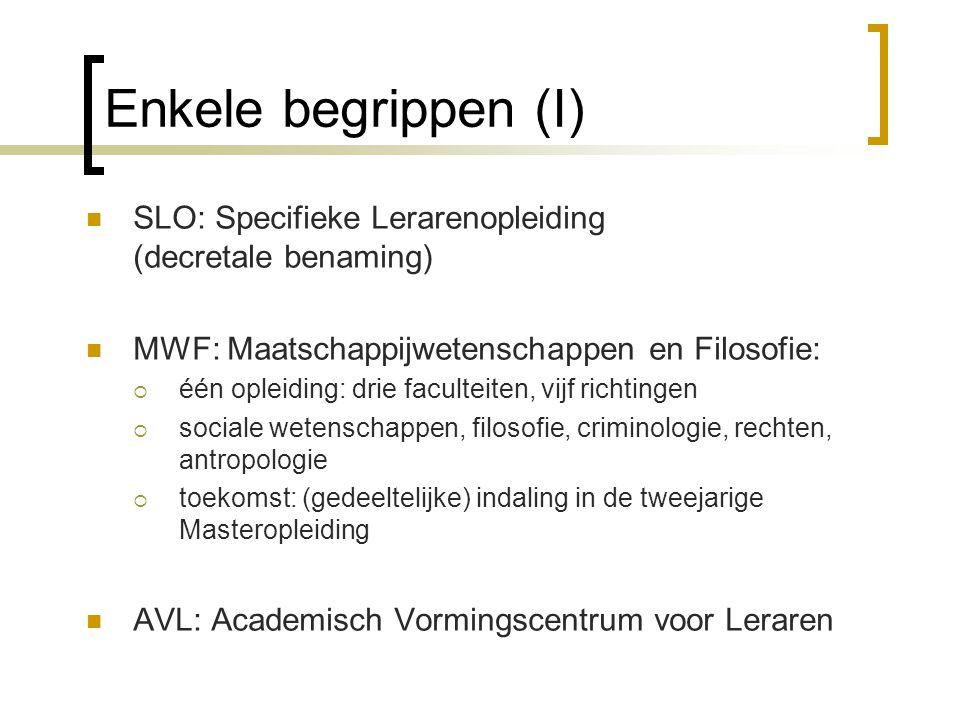 Enkele begrippen (I) SLO: Specifieke Lerarenopleiding (decretale benaming) MWF: Maatschappijwetenschappen en Filosofie: