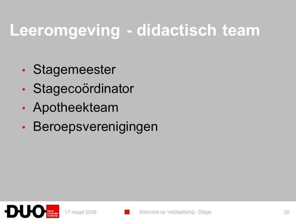 Leeromgeving - didactisch team