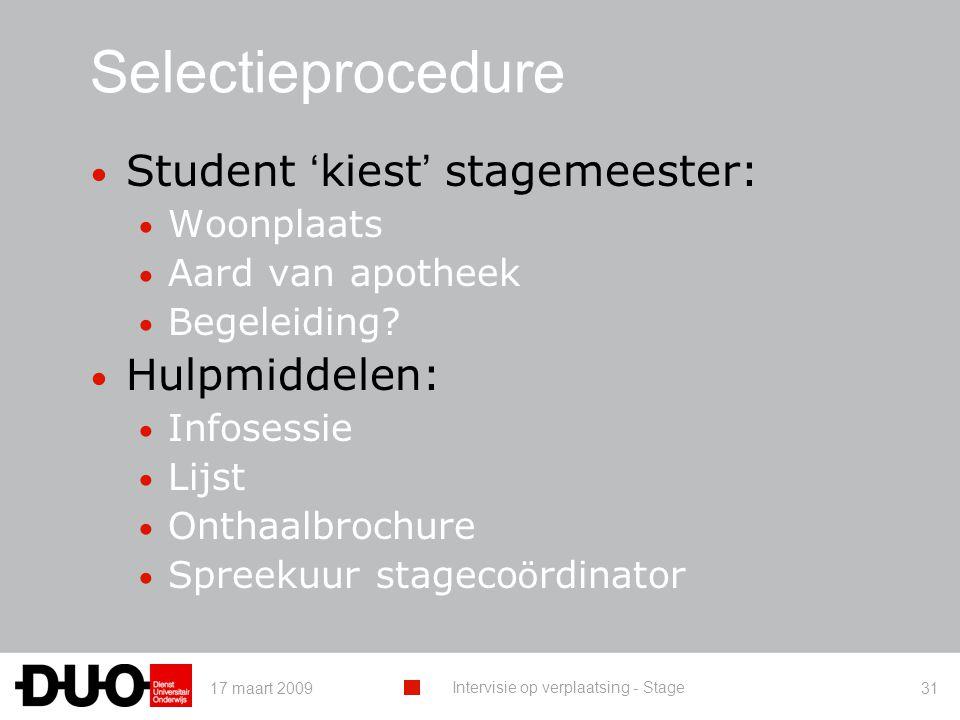 Selectieprocedure Student 'kiest' stagemeester: Hulpmiddelen:
