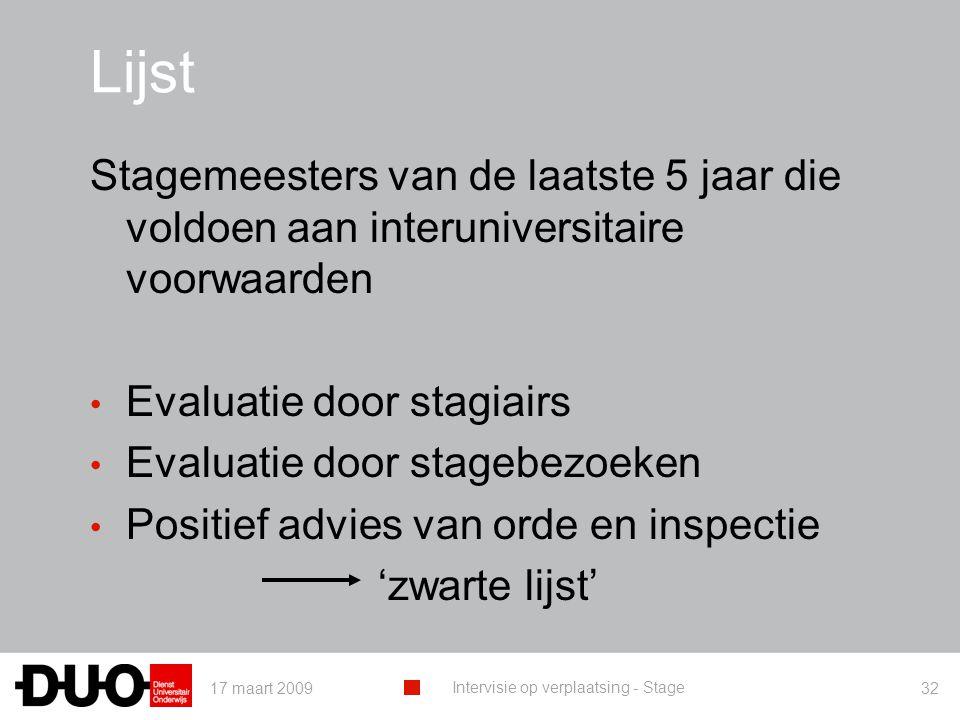 Lijst Stagemeesters van de laatste 5 jaar die voldoen aan interuniversitaire voorwaarden. Evaluatie door stagiairs.