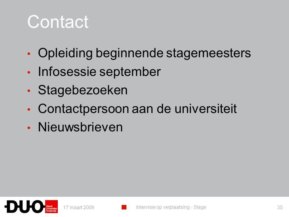 Contact Opleiding beginnende stagemeesters Infosessie september