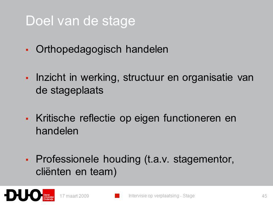 Doel van de stage Orthopedagogisch handelen