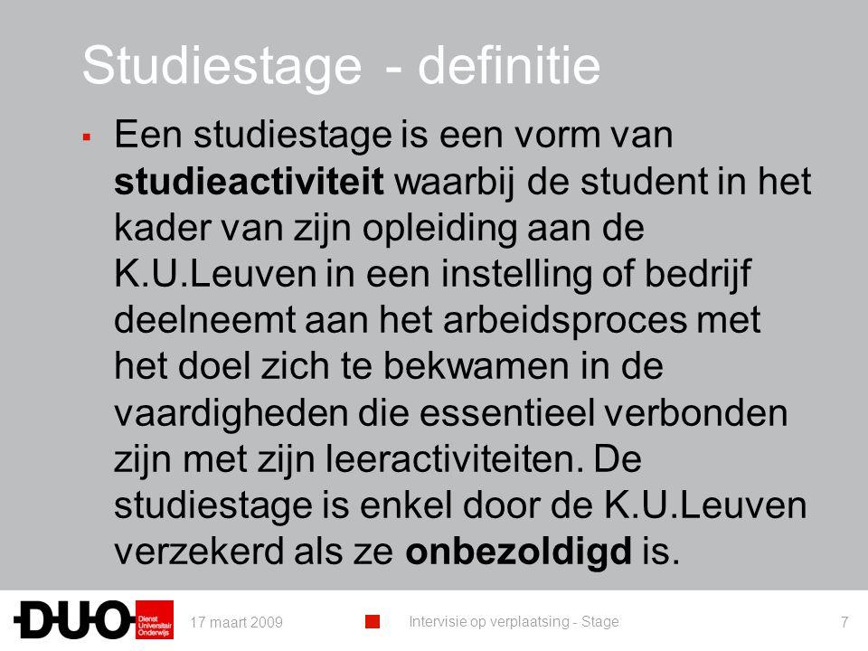 Studiestage - definitie