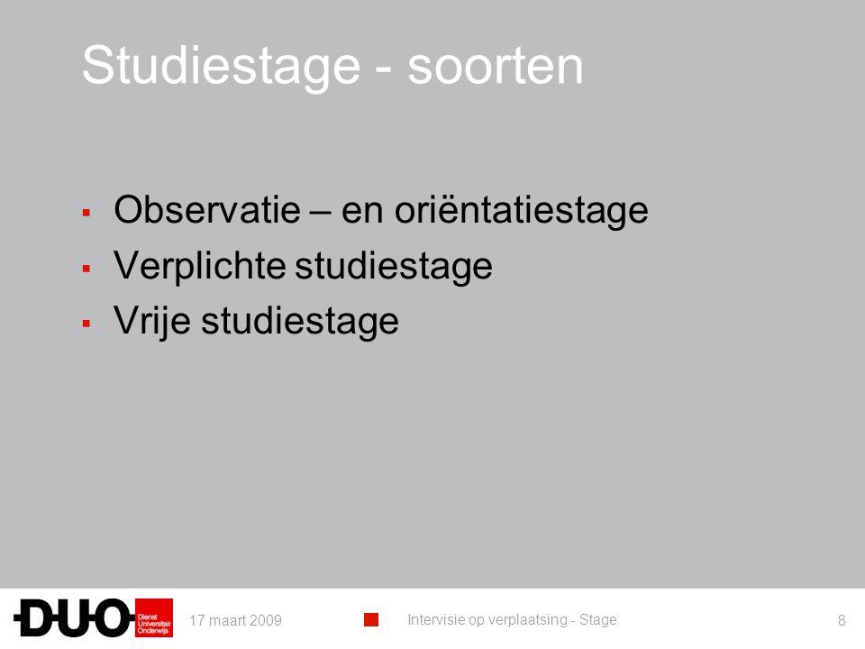 Studiestage - soorten Observatie – en oriëntatiestage