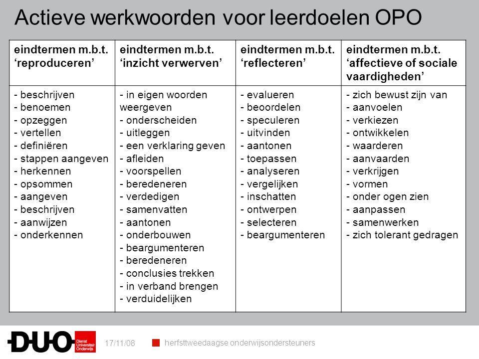 Actieve werkwoorden voor leerdoelen OPO