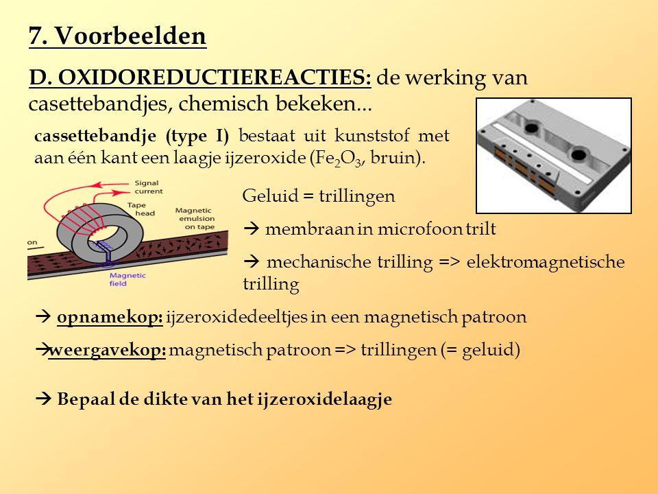 7. Voorbeelden D. OXIDOREDUCTIEREACTIES: de werking van casettebandjes, chemisch bekeken...