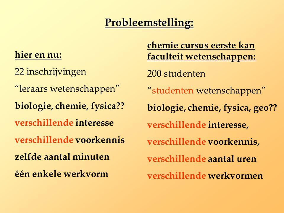 Probleemstelling: chemie cursus eerste kan faculteit wetenschappen: 200 studenten. studenten wetenschappen