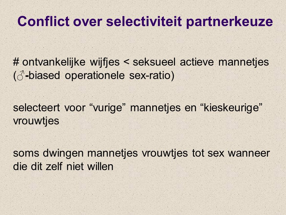 Conflict over selectiviteit partnerkeuze