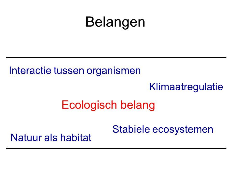 Belangen Ecologisch belang Interactie tussen organismen
