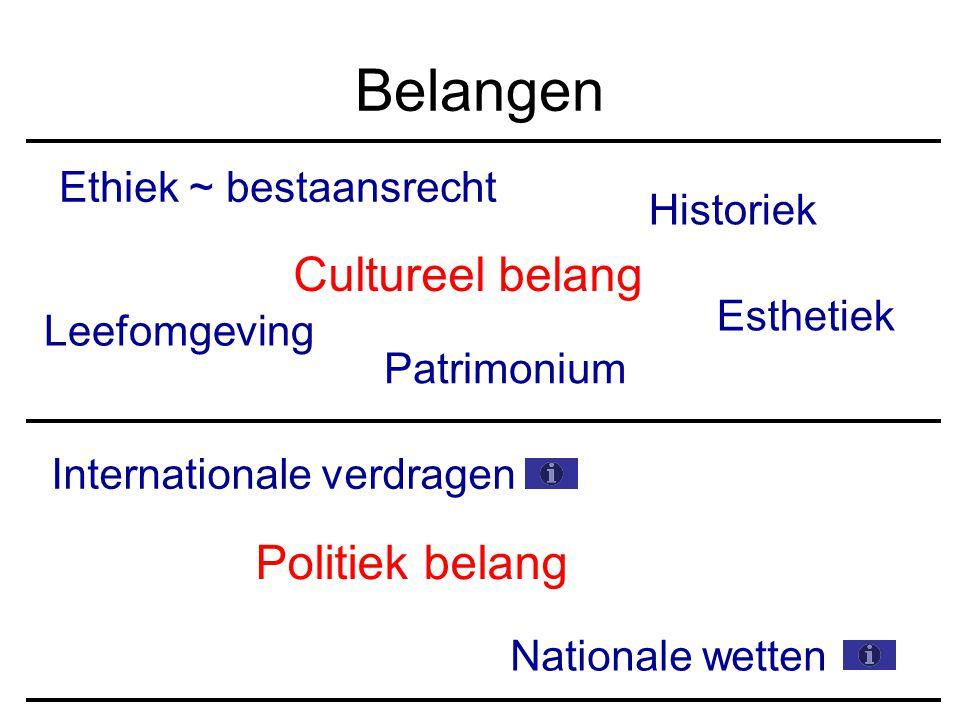 Belangen Cultureel belang Politiek belang Ethiek ~ bestaansrecht