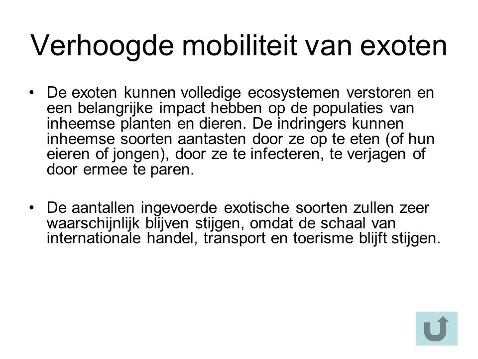 Verhoogde mobiliteit van exoten