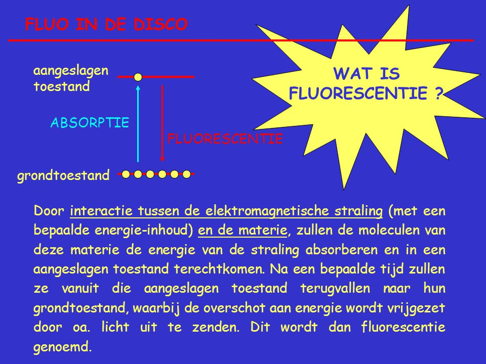 FLUO IN DE DISCO WAT IS FLUORESCENTIE aangeslagen toestand ABSORPTIE